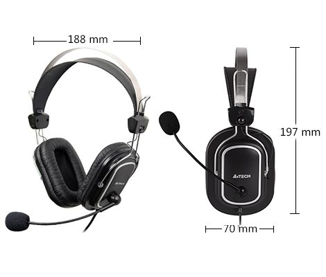 HEADSET GAMING  A4TECH HS-50 +VOLUM CONTROL+2MIC FOR  PC ,Headphones & Mics