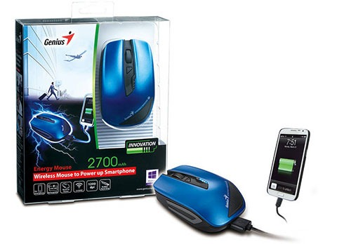 MOUSE WIRELESS GENIUS ENERGY TO POWER UP SMARTPHONE 2700MAH BLUE USB ,Mouse