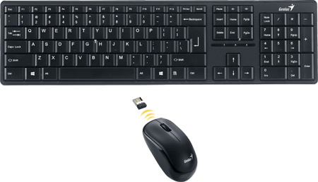 KEYBOARD WIRELESS GENIUS SLIMSTAR+MOUSE 8000ME BLACK ,Keyboard