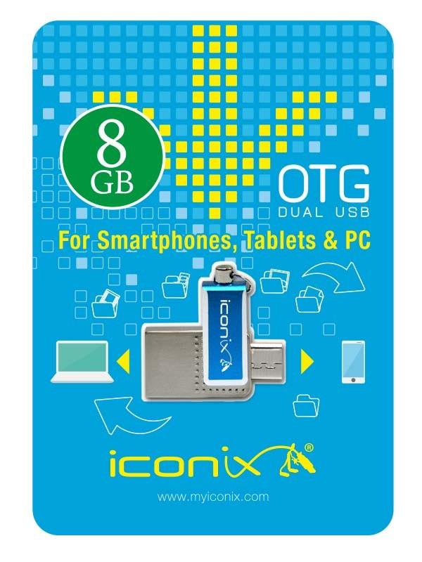 RAM USB 8GB FLASH I CONIX OTG معدنية ,Flash Memory