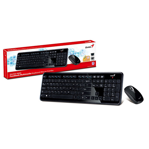 KEYBOARD WIRELESS GENIUS SLIMSTAR+MOUSE I8050 BLACK ,Keyboard