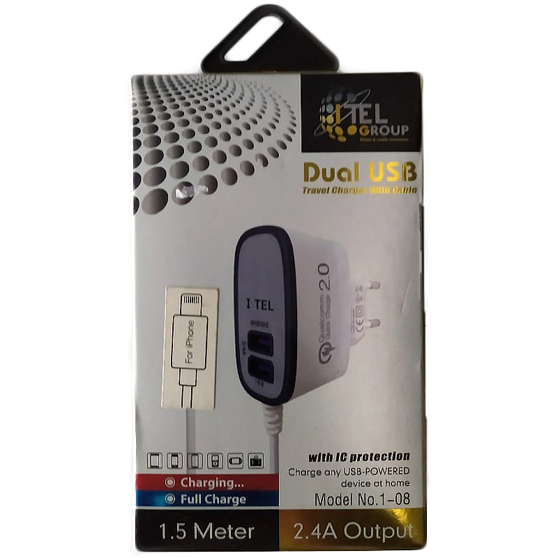 CHARGER DUAL USB FOR MOBILE IPHONE & IPAD - I TEL 1-08 OUTPUT DC5.9V-2.4A شاحن مخرجين 2 امبير مع كبل 1.5 متر ,Smartphones & Tab Chargers