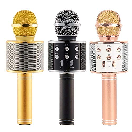 WIRELESS MICROPHONE & SPEAKER KAROKE HANDHELD KTV STEREO - USB & SD CARED & FM & RECORD SONG - WS-858 -COLOR  مايكروفون كاريوكي ,Speakers