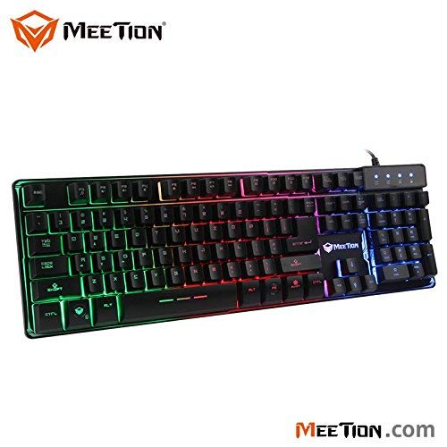KEYBOARD GAMING MEETION RINBOW BACKLIT K9300 بدون ملتي ميديا احرف مضيئه ,Keyboard