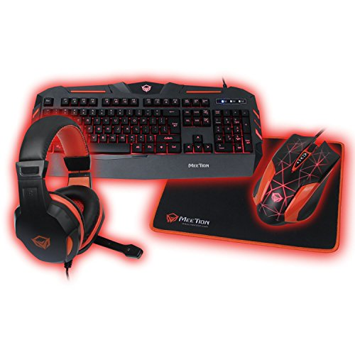 KEYBOARD GAMING MEETION C500 4IN1 PC GAMING KIT COLOR ,Keyboard