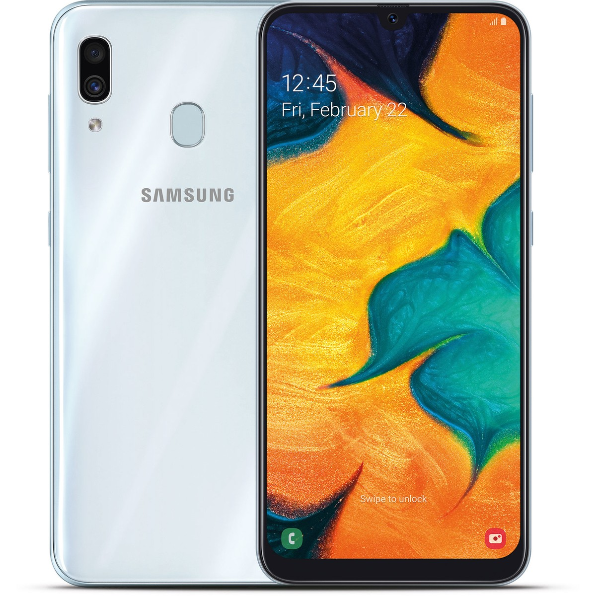 MOBILE PHONE SAMSUNG 6.4 OCTA CORE 1.8GHZ 4GB 64GB DUAL SIM GALAXY A30 - WHITE كفالة شبكة - - ,Android Smartphone