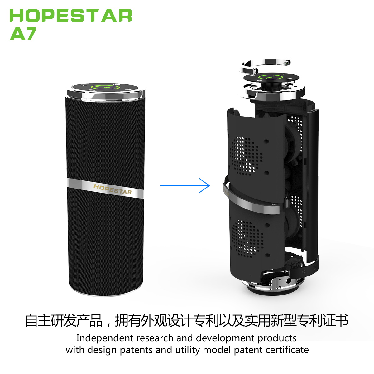 SPEAKER BLUETOOTH HOPESTAR FOR MP3 & MOBILE&SD CARD&USB A7 COLOR ,Speakers