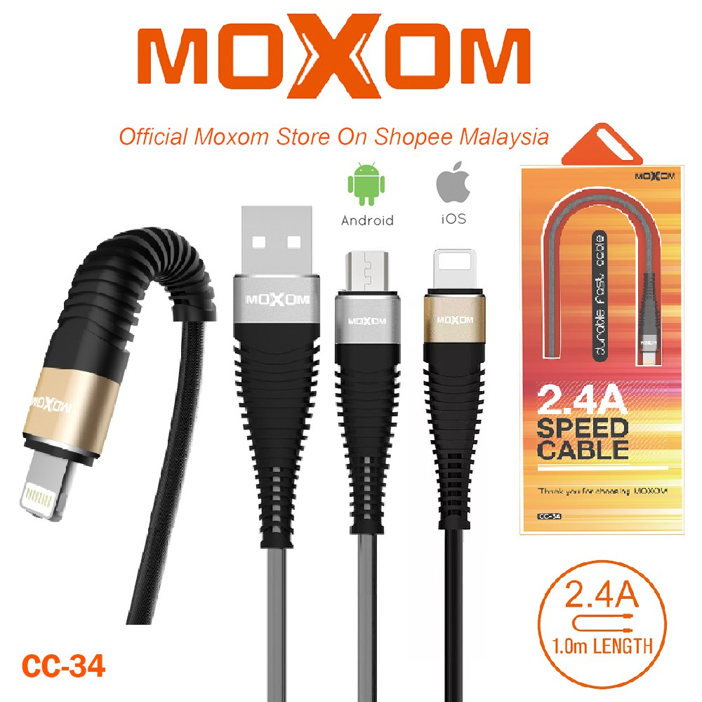 CHARGER MOXOM 2 PORT WITH TYPE-C CABLE AUTO-ID FOR ANDROID KH-48 - OUTPUT DC5V-2.4A شاحن مخرجين مع كبلة تايب سي - - ,Smartphones & Tab Chargers