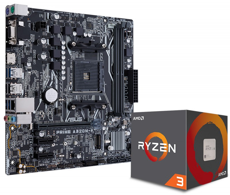 MB ASUS AMD PRIME A320M-K AM4 DDR4 32Gb M.2 HDMI SATA 6Gb USB 3.0 + CPU AMD RYZEN 3 1200 3.4 GHzلوحه مع معالج ,Desktop Mainboard