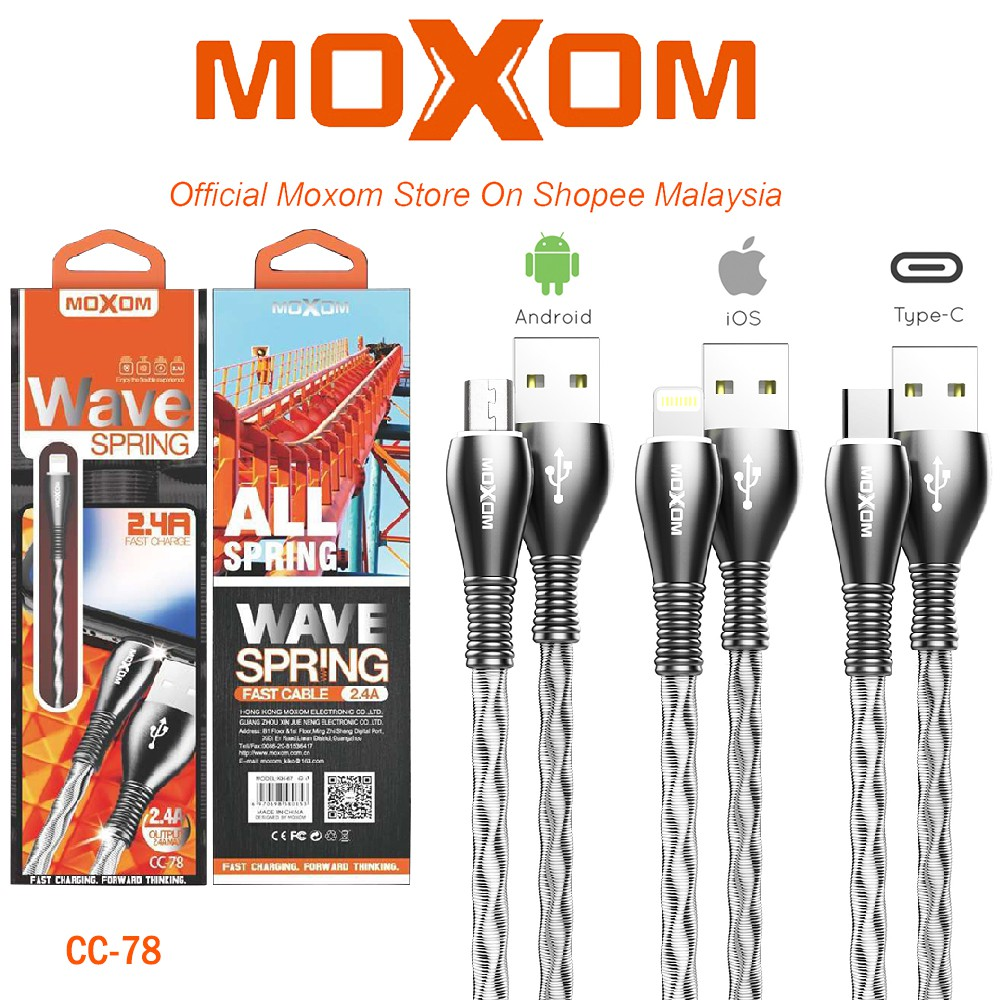 CABLE USB TYPE-C DATA & CHARGE MOXOM CC-78 ,Other Smartphone Acc