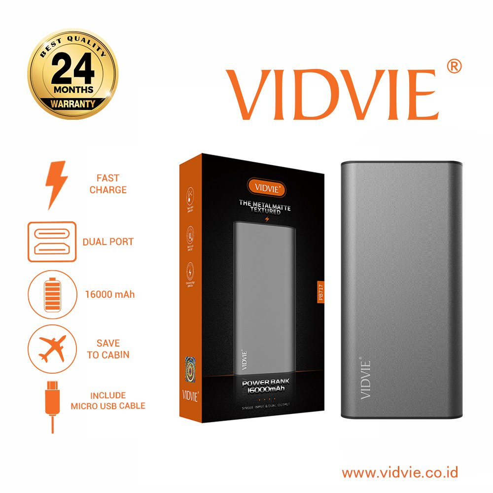EXTERNAL BATTERY VIDVIE 10000 MAH FOR SMART DEVICES POWER BANK WITH LCD PB748 ,Smartphones & Tab Power Banks