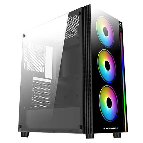 CASE GAMING XIGMATEK MID TOWER POSEIDON RAINBOW RGB FAN  EN42272 ,Case & Power Supply
