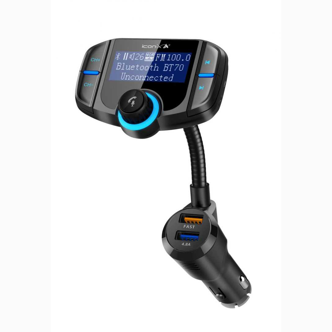 CAR FM TRANSMITTER I CONIX - CHARGER + USB +BLUETOOTH+ WITH SCREEN+REMOTE -IC-CM2022 ,Media Players Accessories