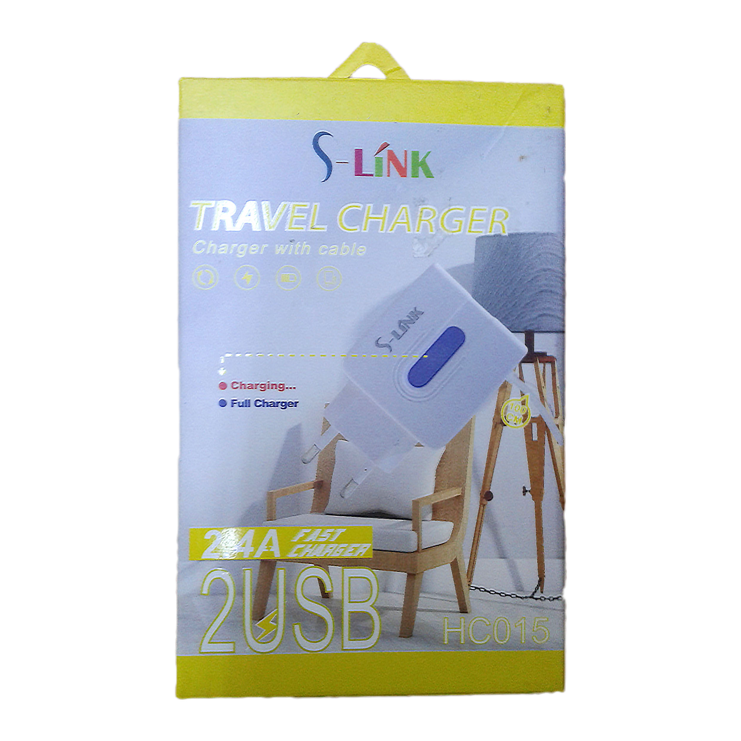 CHARGER DUAL USB FOR MOBILE&TAB I PHONE - S-LINK - HC 015   شاحن مخرجين 2.4 امبير مع كبل ايفون ,Smartphones & Tab Chargers