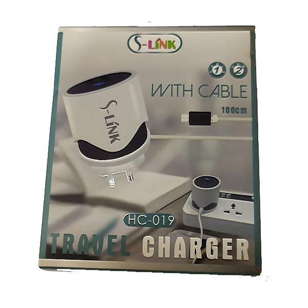 CHARGER DUAL USB FOR MOBILE&TAB ANDROID - S-LINK HC 019 شاحن مخرجين 2.4 امبير مع كبل ,Smartphones & Tab Chargers