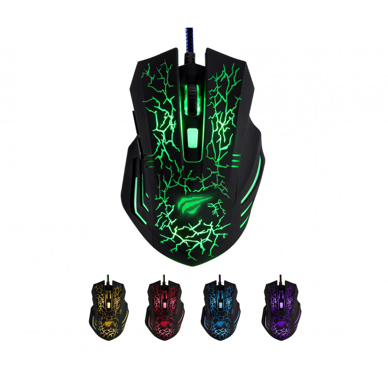 MOUSE GAMING HAVIT MAGIC EAGLE HV-MS672  UP TO 3200DPI COLORFUL BREATHING LIGHT 6 BUTTONS (Black) ,Mouse