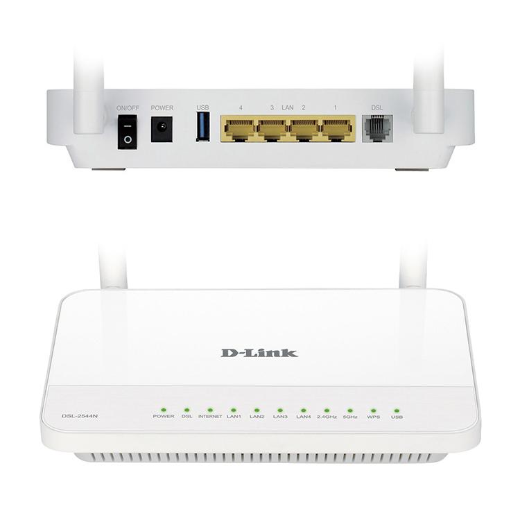ADSL2 MODEM +ROUTER+4PORT+ACCESSPOINT WIRELESS-DUAL BAND N600Mbps GIGABIT ADSL2 D-LINK DSL-2544N+FILTER ,ADSL Routers