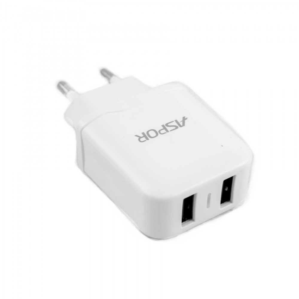 CHARGER DUAL USB FOR MOBILE&TAB ANDROID -ASPOR   A829 شاحن مخرجين 2.4 امبير مع كبل ,Smartphones & Tab Chargers