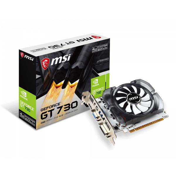 VGA MSI GEFORCE GT730 4G DDR3 128 BIT HDMI & DVI PCIEX  N730-4GD3V2 ,Desktop Graphic Card