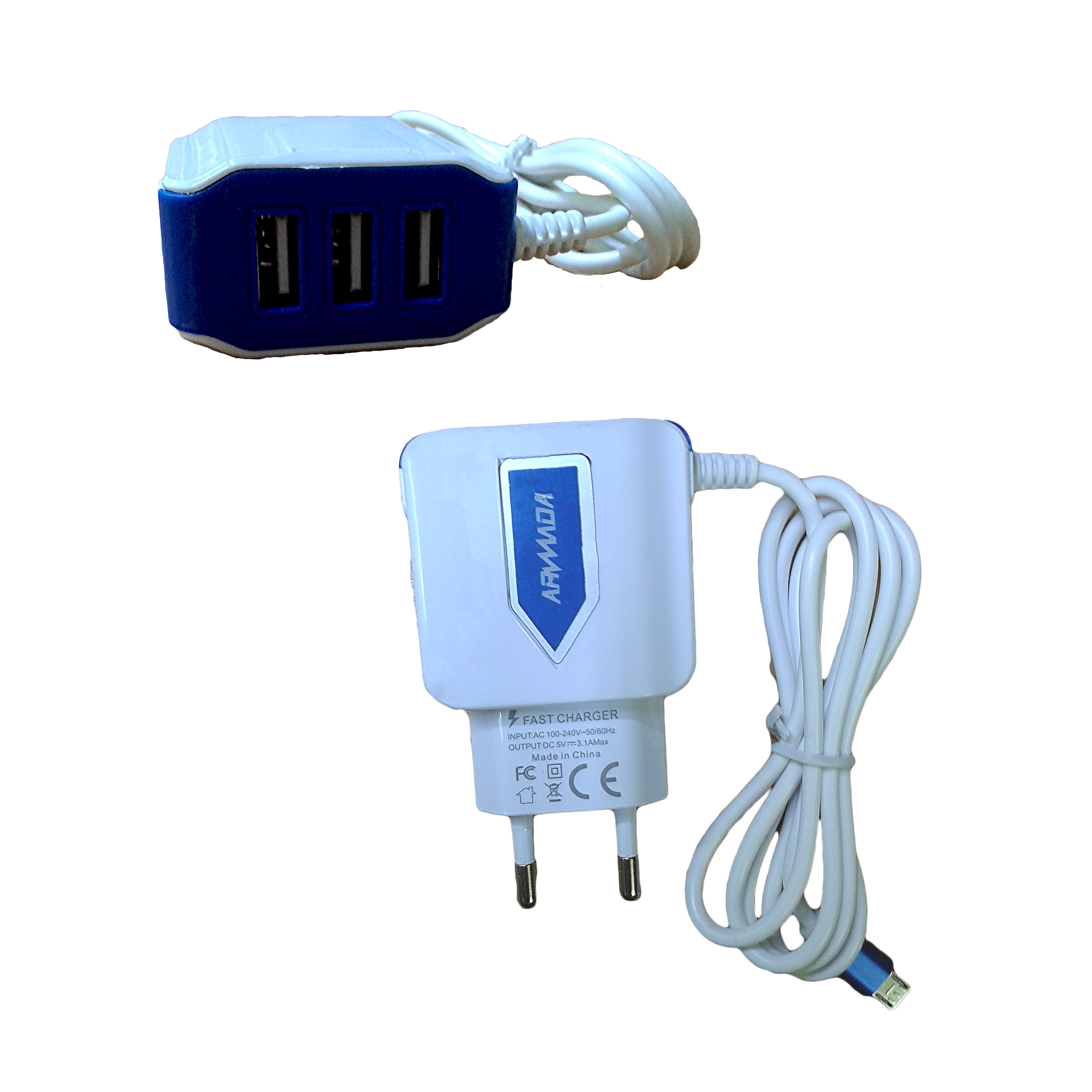 CHARGER 3USB FOR MOBILE&TAB ANDROID -ARMADA C001  مع كبل ,Smartphones & Tab Chargers