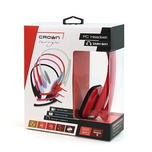 HEADPHONE+MIC FOR PC CROWN CMH-941 2PIN ,Headphones & Mics