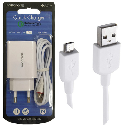 CHARGER BOROFONE QUALCOMM  1 USB FOR MOBILE&TAB ANDROID 3A BA21A - راسيه شحن سريع مع كبل ,Smartphones & Tab Chargers