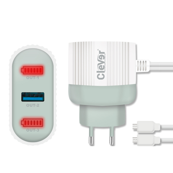 CHARGER 1 USB FOR MOBILE&TAB ANDROID - CLEVER HC-1013  شاحن كبلتين مايكرو مدمج مع مخرج اضافي ,Smartphones & Tab Chargers