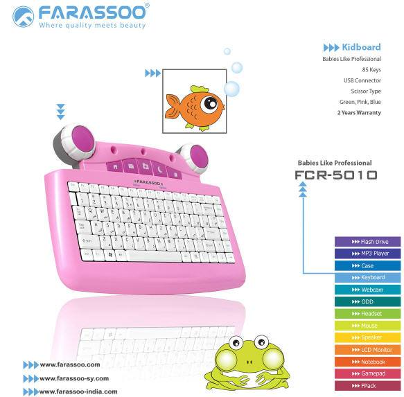 KEYBOARD FARASSOO KIDS COLOR FCR-5010 USB ,Keyboard
